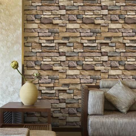 Self-adhesive 3D Kertas Dinding Latar Belakang Dinding SA-1007 Simulasi Vein Rock Pola Batu Bata Wallpaper Restoran Decoration Wall Stiker -Intl 3
