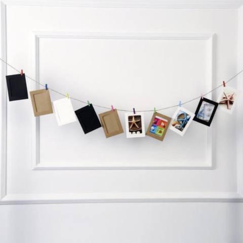 Set Frame Foto gantung Isi 10 Frame Paper, 10 Jepit Kayu, Tali Rami - LAMPU HIAS - Hiasan Rumah, Cafe, Kantor, Kamar, Kostan Tumblr Bingkai foto Dekorasi - dekorasi kamar 3