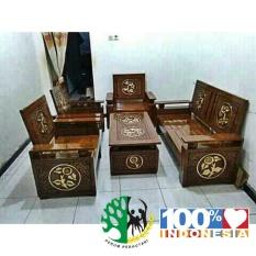 Set kursi tamu ukir daun kayu jati jepara