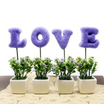 Rak Di Kamar Tidur Rumah Modern Minimalis Aksesoris Hiasan Rumah Kecil Kreatif Pot Cinta Tanaman Buatan Bunga Set-Intl