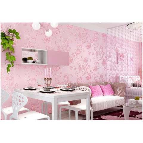 Sederhana Embossed Bunga Besar 3D Pedesaan Non-Wallpaper Woven Ungu Ruang Pernikahan Romantis Wallpaper Kamar Tidur Ruang Keluarga Hiasan Dinding Latar-Intl 1