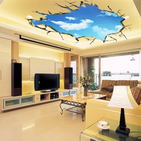 Sky 3D Broken Wall Mural Removable Dinding Stiker Seni Vinyl Decal Dekorasi Kamar-Internasional 1