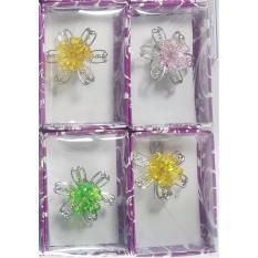 Souvenir Pernikahan Bros Bunga Silver Kemas Box Mika Isi 100 Pcs