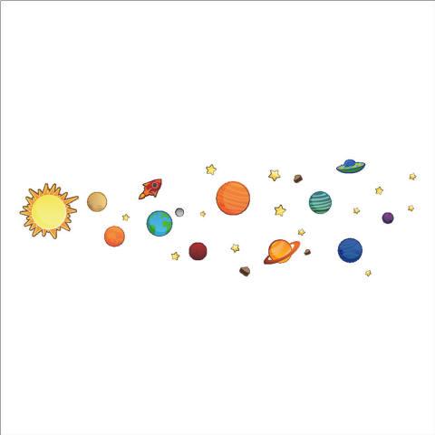 Mimosifolia Space Universe Planet Ruang tamu dapur wallpaper sticker Stiker dinding kamar tidur anak-anak PVC Seni Mural Dekorasi Rumah prasekolah kelas perekat diri dekoratif wallpaper 30X90 - Intl 4
