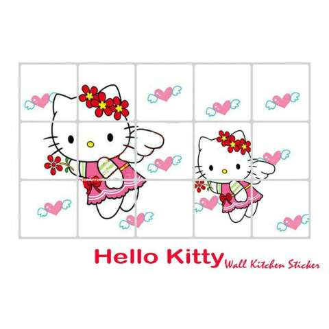 Addagio sticker dapur mosaic anti minyak hello kitty wallpaper dinding kitchen motif helo kity