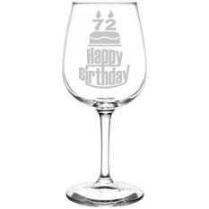 Tiga Tier Happy Birthday Cake Terinspirasi-Laser Terukir 12.75 Oz Libbey All-Purpose Wine Taster Kaca-Internasional