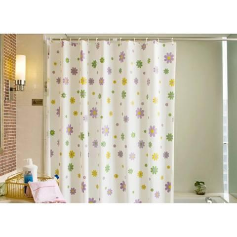 Tirai Shower Kamar Mandi Polyester 180 x 180 cm Plus Pengait Waterproof Anti Air
