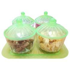 Toples kue lebaran safira set 4pcs + tray - hijau