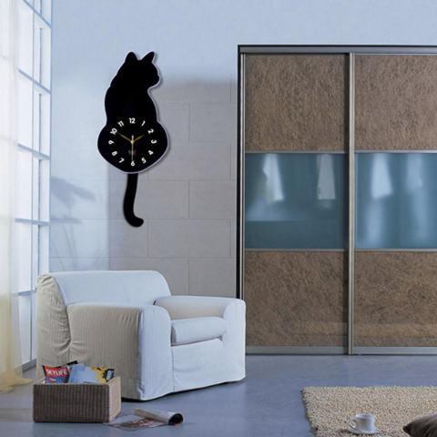 Ulamore Jam Kreatif Kartun Cute Cat Jam Dinding Dekorasi Rumah Menonton Cara Ekor Bergerak Silence-Intl 1