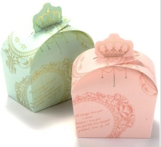 Urparcel 50 Pcs Pernikahan Favor Candy Box Royal Crown Desain Baby Shower Gift Boxes Pink-Intl