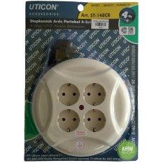 UTICON® Kabel Box Roll 4M Stop Kontak Arde Portabel 4 Lubang + Steker