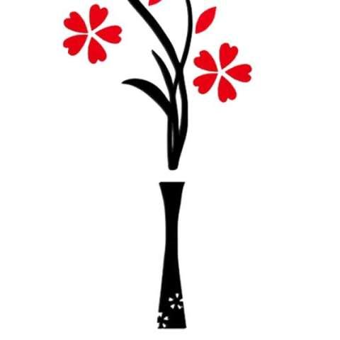 Vas Plum Bunga Crystal Acrylic Dinding Stiker 3d Tiga Dimensi Ruang Tamu Wall Sticker Kamar Tidur TV Masuk Dekoratif Rose Merah K 1