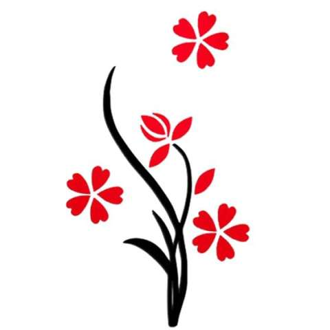 Vas Plum Bunga Crystal Acrylic Dinding Stiker 3d Tiga Dimensi Ruang Tamu Wall Sticker Kamar Tidur TV Masuk Dekoratif Rose Merah K 2