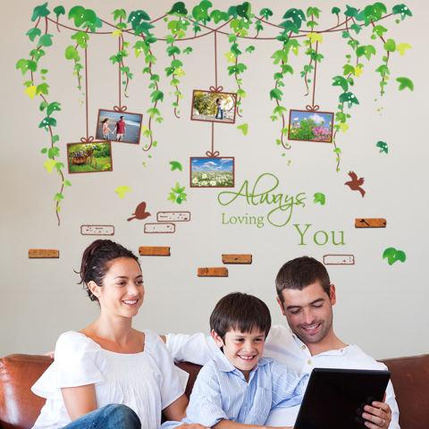 Tanaman merambat bingkai foto burung hijau daun stiker dinding rumah stiker PVC mural vinil Paper House dekorasi Wallpaper ruang tamu kamar tidur dapur gambar seni diseduh sendiri untuk anak remaja dewasa bayi Senior bibit - International 1