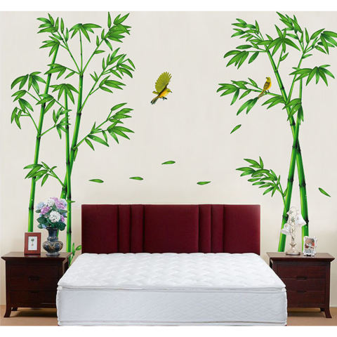 Stiker dinding bambu kuning burung rumah kertas stiker yang dapat dilepas kamar Dinning kamar dapur ruang tamu gambar seni Mural membuat sendiri tongkat anak bayi perempuan laki-laki bermain bibit dekorasi 1