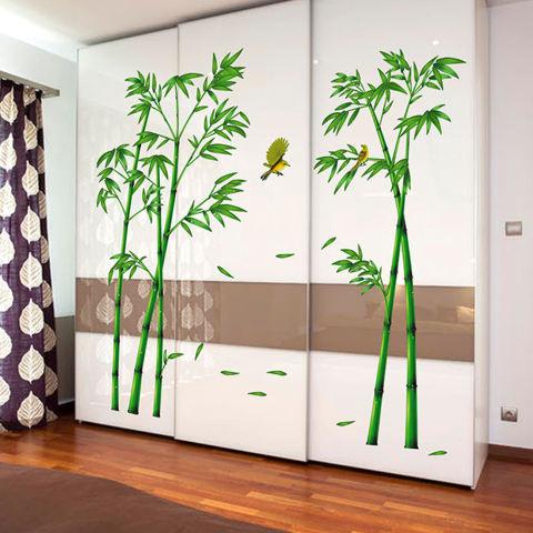 Stiker dinding bambu kuning burung rumah kertas stiker yang dapat dilepas kamar Dinning kamar dapur ruang tamu gambar seni Mural membuat sendiri tongkat anak bayi perempuan laki-laki bermain bibit dekorasi 2