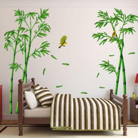 Stiker dinding bambu kuning burung rumah kertas stiker yang dapat dilepas kamar Dinning kamar dapur ruang tamu gambar seni Mural membuat sendiri tongkat anak bayi perempuan laki-laki bermain bibit dekorasi 3