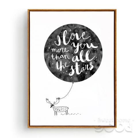 Cat Air Kutipan Cinta dengan Rusa Lukisan Dinding Cetak Poster Gambar Dinding untuk Dekorasi Rumah, Bingkai Tidak Mencakup Kanvas Seni S006-Intl 3