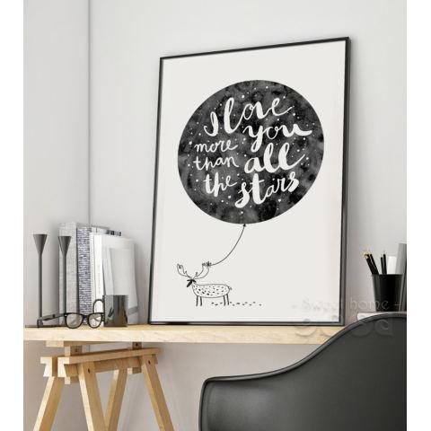 Cat Air Kutipan Cinta dengan Rusa Lukisan Dinding Cetak Poster Gambar Dinding untuk Dekorasi Rumah, Bingkai Tidak Mencakup Kanvas Seni S006-Intl 1