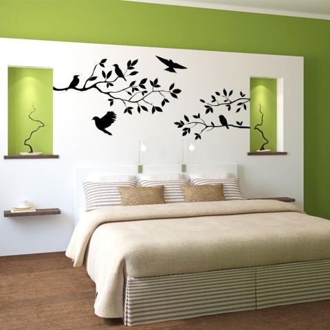 Wise Membeli Cabang Burung Stiker Dinding Stiker Lukisan Dinding DIY Ruang Tamu Kamar Tidur Seni Dekorasi Rumah 2