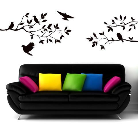 Wise Membeli Cabang Burung Stiker Dinding Stiker Lukisan Dinding DIY Ruang Tamu Kamar Tidur Seni Dekorasi Rumah 3