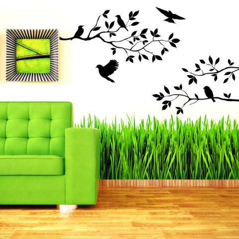 Wise Membeli Cabang Burung Stiker Dinding Stiker Lukisan Dinding DIY Ruang Tamu Kamar Tidur Seni Dekorasi Rumah 1