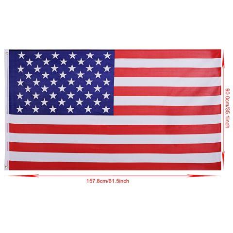 Yika 3X5.2 Ft Garis Bintang Kuningan Grommet Bendera Amerika AS (Aneka Warna) 2