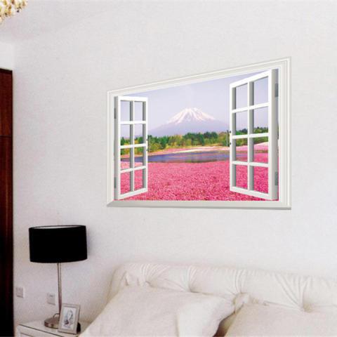 Yika 3D Jendela Bunga Seni Lukisan Pemandangan Laut PVC Wall Sticker Wallpaper (Aneka Warna) 2