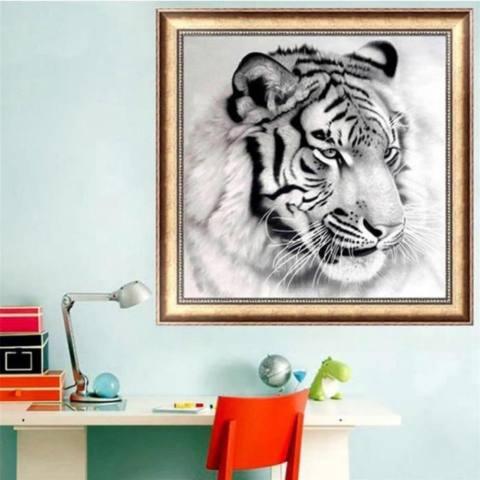 Yika Tiger DIY 5D Sulaman Berlian Lukisan Harimau Jahitan Menyilang Kerajinan Dekorasi Rumah 2