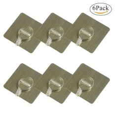 yiokmty Pawaca Reusable Nail Free Stainless Steel Wall Hooks for Towel Loofah Bathrobe Clothes, Waterproof, Strong Load, Traceless and Noresidue, Bathroom Kitchen Wall Hooks Ceiling Hanger- 6 Pcs, Brushed Gold