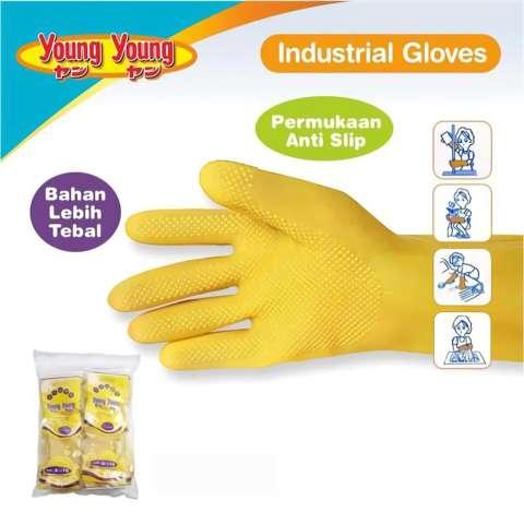 YOUNG YOUNG Latex Gloves IL SARUNG TANGAN ALLSIZE Karet Rubber - Kuning