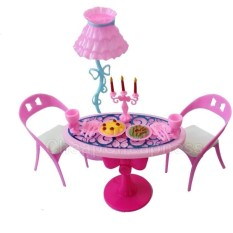 1 set Vintage Table Chairs For Dolls Furniture Dining Sets Toys ForGirl Kid For Pink For Barbie - intl