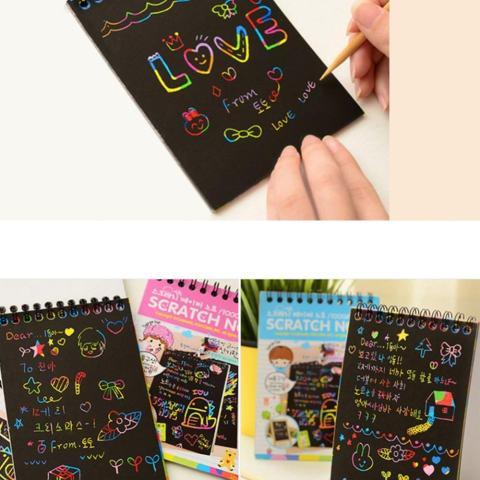 12 Lembar Sihir Scraping Kertas Gambar Warna-warni Lukisan Doodle Buku Catatan Menggaruk Seni Hadiah untuk Anak-anak Warna Acak-Internasional 3