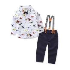 2017 Baru Bayi Anak Laki-laki Musim Semi Gentleman Dicetak Pakaian Set Setelan Baru Lahir Anak-anak Busur Dasi Kemeja + Tali Ikat Celana Formal Pesta -Internasional