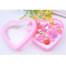 24 Pcs Cute Adjustable Mixed Children Girls Pink Bunga Hewan Fruit Polymer Resin Kartun Cincin Children Perhiasan With Hati Bentuk Gift Box-Intl