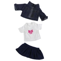 3 pcs Denim Jacket + T-shirt Tops + Skirt Dress for 18 inch American Girl Our Generation My Life Doll Outfit Suit Clothes Set Doll Accessories - intl
