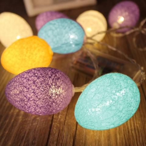 3.2 M 20 LED Easter Baru Bola Kapas Ornamen Telur Kawat Tali Lampu Dioperasikan Dekorasi untuk Tahun Baru Pesta Pernikahan Liburan rumah Kamar Tidur-Intl 3