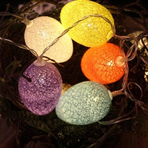 3.2 M 20 LED Easter Baru Bola Kapas Ornamen Telur Kawat Tali Lampu Dioperasikan Dekorasi untuk Tahun Baru Pesta Pernikahan Liburan rumah Kamar Tidur-Intl 1