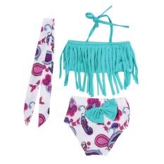 3 Pcs Baby Girls Swimwear Musim Panas Jempol Bikini Swimsuits Top + Pendek + Headband-Intl