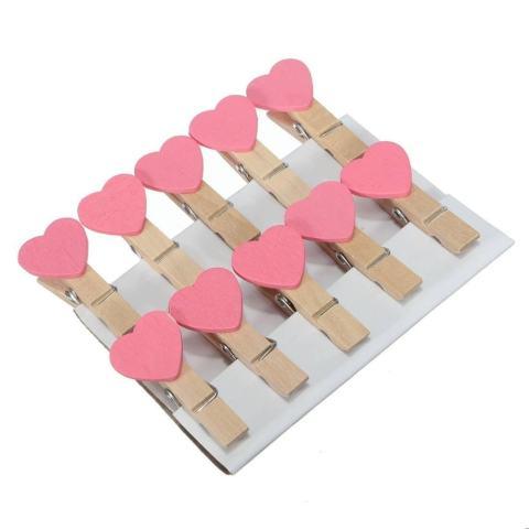50 Pcs 3.5 Cm Mini Heart Jepitan Kayu untuk Kertas Foto Rumah Kayu Hiburan Hiasan Creative Pink-Intl 2