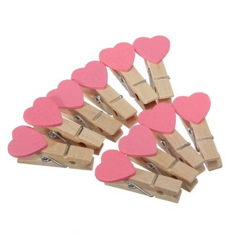 50 Pcs 3.5 Cm Mini Heart Jepitan Kayu untuk Kertas Foto Rumah Kayu Hiburan Hiasan Creative Pink-Intl 1