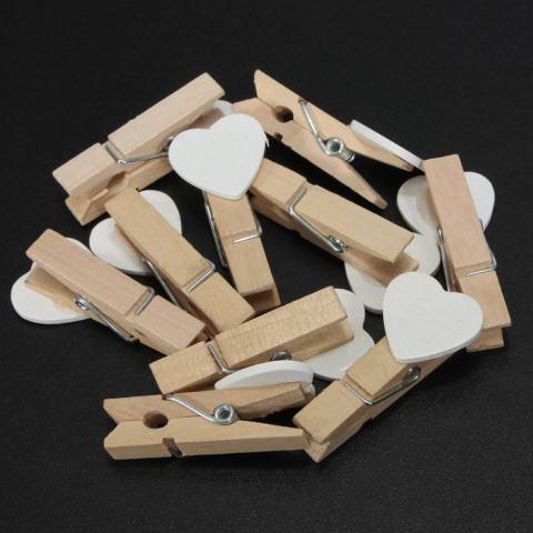 50 Pcs 3.5 Cm Mini Heart Jepitan Kayu untuk Kertas Foto Rumah Kayu Hiburan Hiasan Kreatif Putih-Intl 3