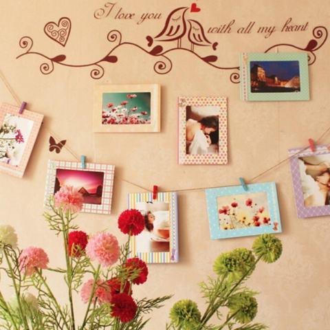 8 Pcs 6 Inch Kreatif Hadiah Hiasan Rumah DIY Bingkai Foto Gantungan Dinding Kertas Album Bingkai Foto-Intl 3