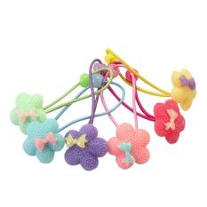 AC 6 Pcs Anak Gadis Elastis Ponytail Holder Flower Bowknot Hair Band Cincin-Intl