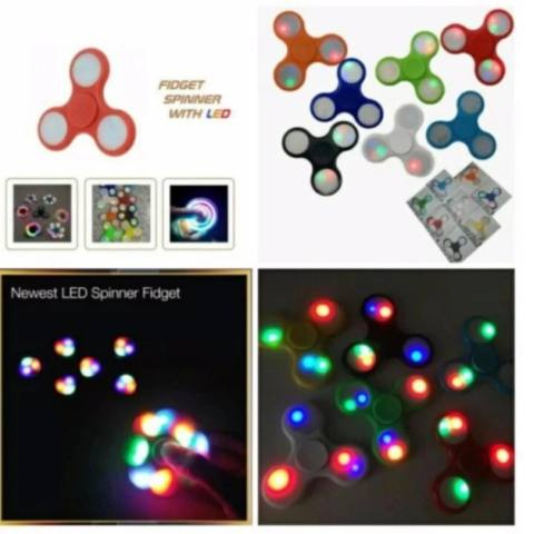 AIUEO LED Fidget Spinner Hand Toys Mainan Tri-Spinner EDC Focus Games Penghilang stress -