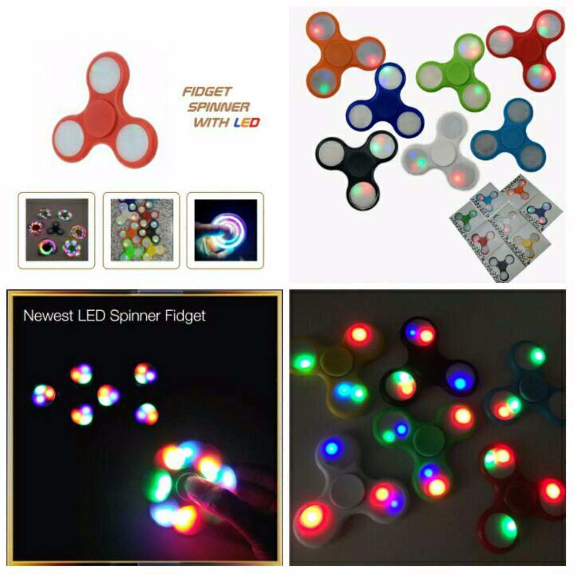 ANGEL LED Fidget Spinner Hand Toys Mainan Tri-Spinner EDC Ceramic Ball Focus Games Penghilang