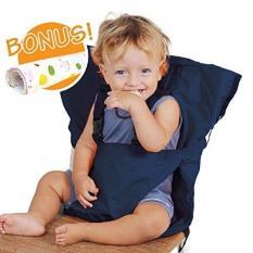 Kursi Tinggi Bayi Harness Portable Travel Sabuk Pengaman Booster Kursi Makan Kursi Tinggi Seat Cover Sack Cushion Bag untuk Balita Bayi Balita Aman dengan Adjustable Tali Termasuk Cuci Tangan Kain Biru Tua