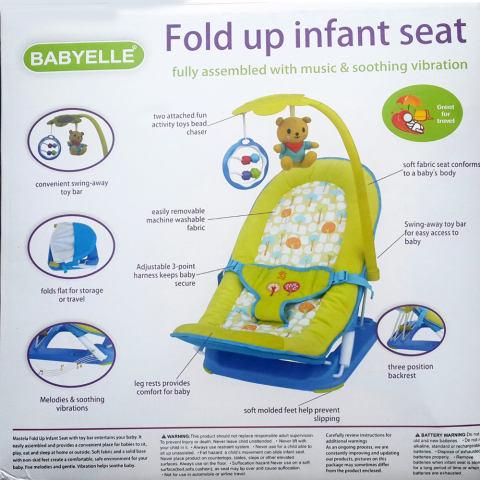 Babyelle Fold Up Infant Seat With Melodies And Soothing Vibrations - Baby Elle Kursi Lipat Bayi - Hijau