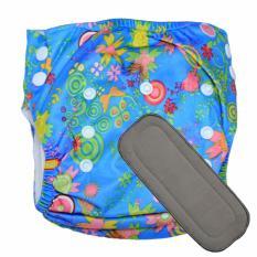 Babyland celana clodi bayi cuci ulang motif Wild Life untuk bayi berat 8 sampai 20 kg dengan 1 penyerap ompol Bamboo Charcoal 5 lapis