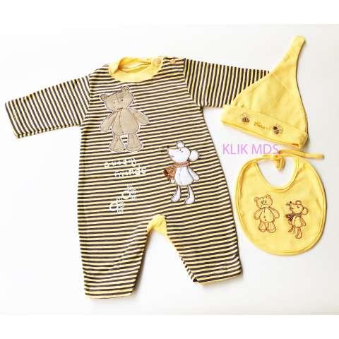 Baju Anak Bayi Jumpsuit Cudly Friend Free Topi dan Celemek - Kuning